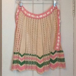 Crocheted vintage apron with ribbon